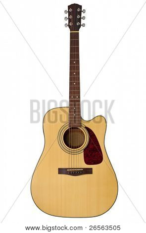 Acoustic guitar isolated on white with clipping path