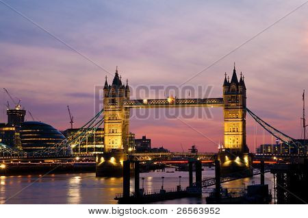 Tower Bridge and the London City Hall at sunset