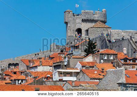 Dubrovnik, Croatia, July 29, 2018: Fort Minceta In Dubrovnik, Croatia Originated In 1319, Rebuilt In