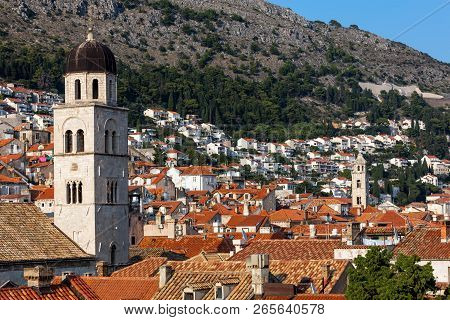 Bell Tower Of The Franciscan Church And Monastery In Dubrovnik, Croatia, Originated In The 13th Cent
