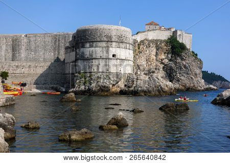 Dubrovnik, Croatia, July 29, 2018: Fortress Bokar In Dubrovnik, Croatia, Started In 1461, Completed