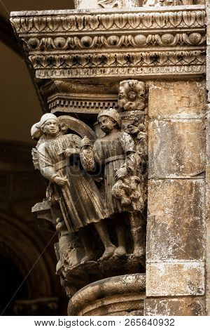 Ornament Details Of The 16th Century Sponza Palace In Dubrovnik, Croatia, Built In A Mixed Gothic An