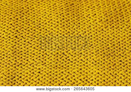 Trend Ceylon Yellow Woolen Knitted Background, Texture, Close-up