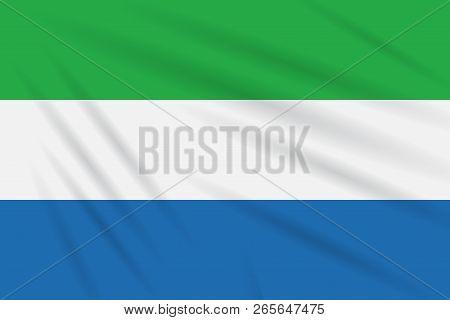 Flag Sierra Leone Swaying In Wind, Realistic Vector.