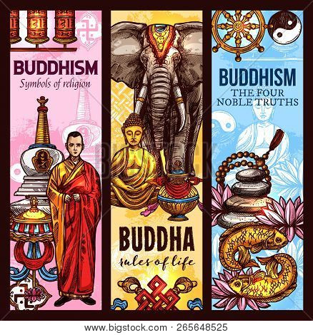 Buddhism Religious Symbols And Sacred Culture Sketch Banners. Vector Dharma Wheel, Golden Buddha Or