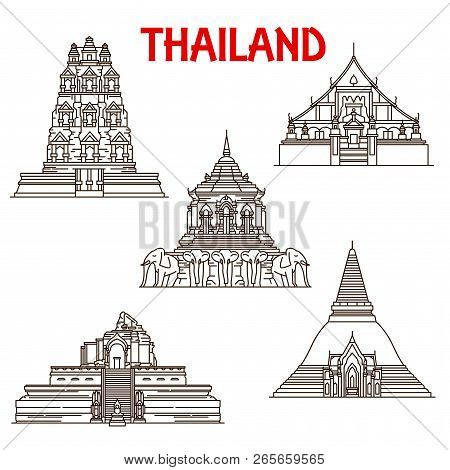 Thailand Buddhist Temples Architecture Vector Icons. Thin Line Facades Of Wat Phra Singh, Chedi Luan