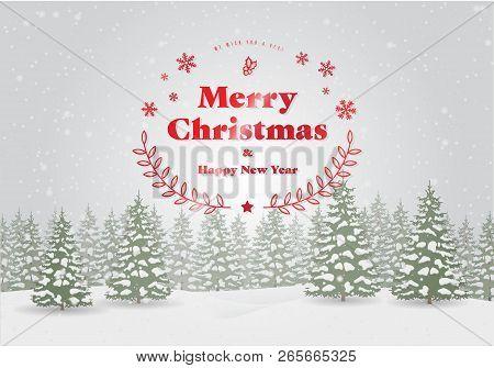 Christmas Tree Landscape Snowing Background. Vector Illustration.