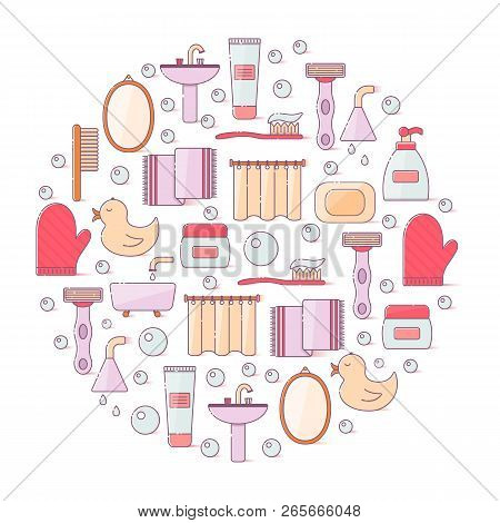 Vector Illustration With Flat Line Cartoon Bathroom Background. Circle Background With Bathroom Soap