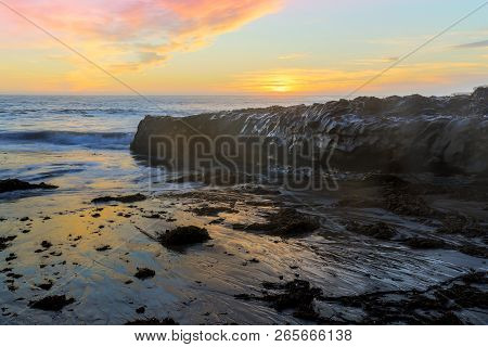 Sunset Over Four Mile Beach In Wilder Ranch State Park. Santa Cruz, California, Usa.