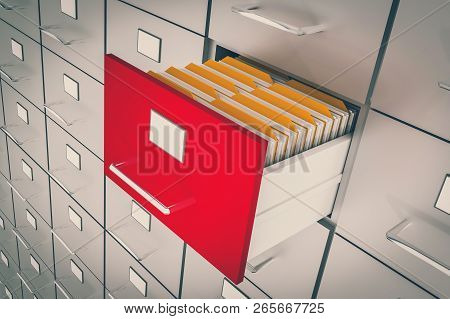 Open Filing Cabinet Drawer With Documents Inside - Data Collection Concept. 3d Rendered Illustration