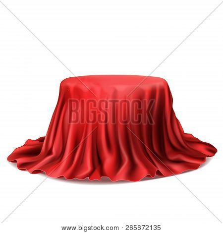 Vector Realistic Stand Covered With Red Silk Cloth Isolated On White Background. Empty Podium With T