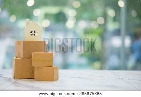 Carry Boxes Moving Into New Home. House Moving And Real Estate Concept