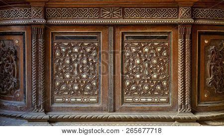 Two Arabesque Sashes Of An Old Mamluk Era Cupboard With Geometrical Decorations