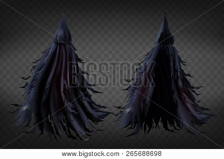 Vector Realistic Witch Costume With Hood, Black Ragged Cape For Halloween Party Isolated On Transpar