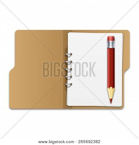 Open File Folder With Documents And Pencil. Blank Cardboard Ring Binder Folder With Stack Of Empty P