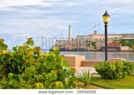 The famous castle of El Morro in Havana pictured from across the bay