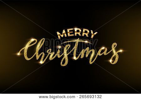 Merry Christmas Text Made Of Golden Glitter And Golden Frame With Glitter Isolated On Black Backgrou
