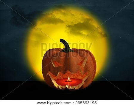 3d Rendering Of A Halloween Pumpkin At Night With A Big Yellow Moon In The Background And A Starry C