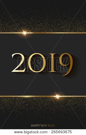 2019 New Year Luxury Design Concept. Vector Golden 2019 New Year Vertical Template.