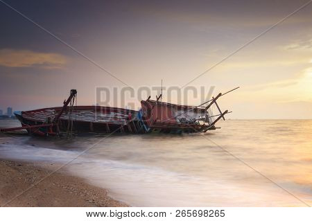 An Old Shipwreck Or Abandoned Shipwreck On The Sea.
