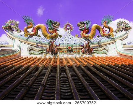 Pray and Make a merit at Khao Din Temple, Chaserngsao, Thailand. There are Swan Statue, Dragon Statue, etc. poster
