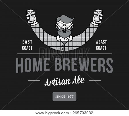Beer Home Brewers White On Black Is A Vector Illustration About Drinking