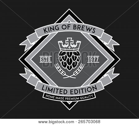 Beer King Of Brewers White On Black Is A Vector Illustration About Drinking