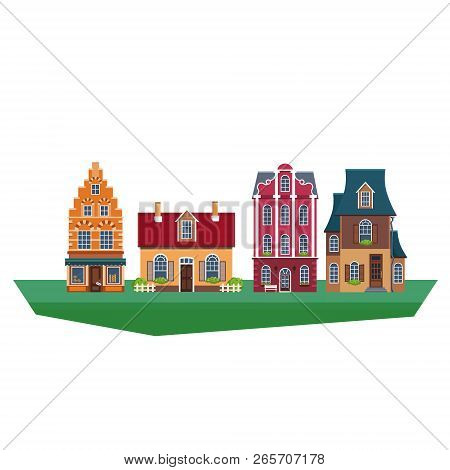 Old Traditional Eurpoean Vintage Houses Vector Illustration