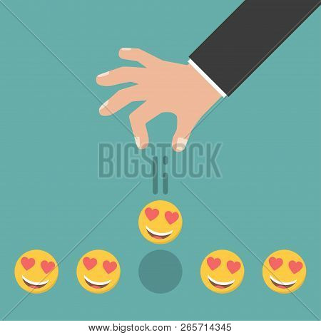 Smile Rating. Hand Giving Five Smile Rating. Vector Illustration.