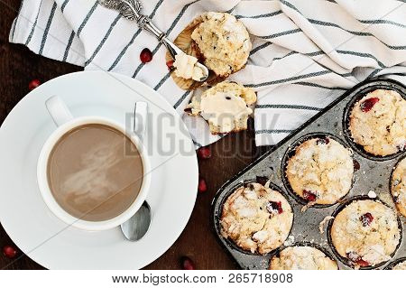 Coffee And Cranberry Muffins. Image Shot From Above.