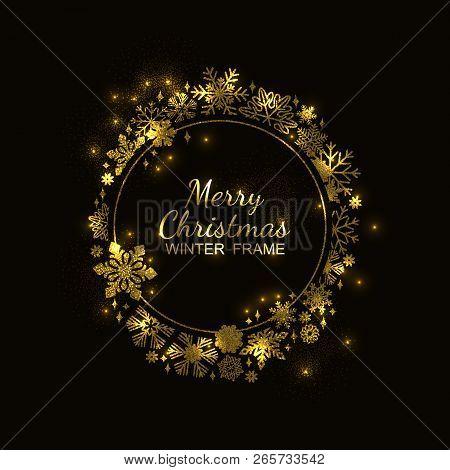 Gold Circle Snowflake Frame Isolated On Black Background, Christmas Glitter Design. Vector Illustrat