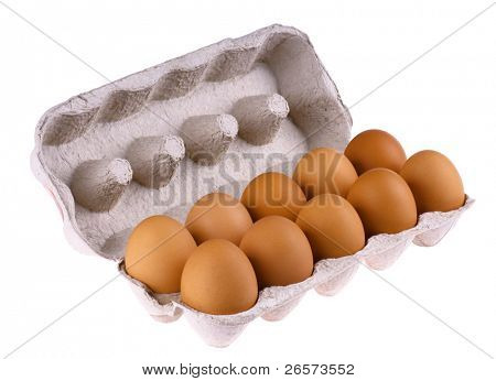 Brown eggs in packing for eggs isolated on white background