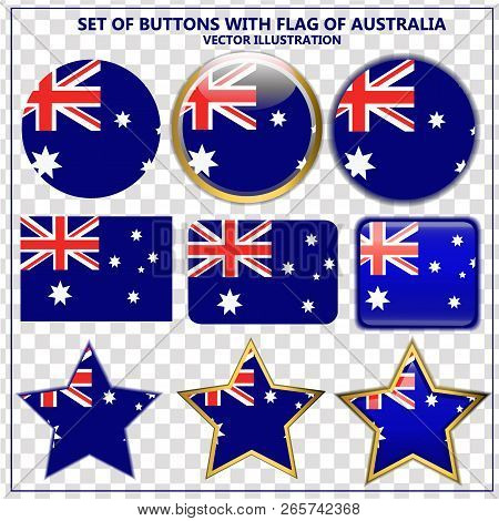 Bright Set Of Banners With Flag Of Australia. Happy Australia Day Illustration. Colorful Illustratio