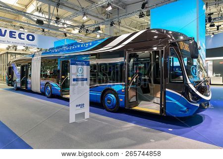 Hannover, Germany - Sep 27, 2018: Iveco Crealis Electric, In-motion Charging, City Bus Showcased At
