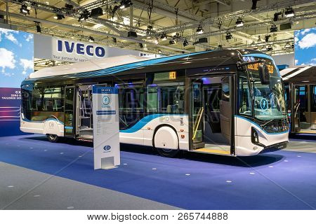 Hannover, Germany - Sep 27, 2018: Iveco Gx 337 E Electric City Bus Showcased At The Hannover Iaa Com