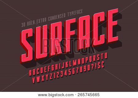 Condensed 3d Display Font Design, Alphabet, Letters