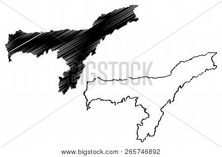 Assam (states And Union Territories Of India, Federated States, Republic Of India) Map Vector Illust