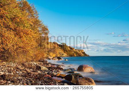 Baltic Sea Coast In Klintholm Havn In Denmark.