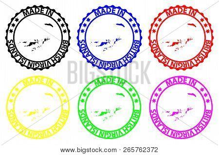 Made In British Virgin Islands - Rubber Stamp - Vector, British Virgin Islands Map Pattern - Black,