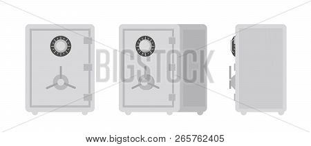Collection Of Safe Or Strongbox Isolated On White Background, Front And Side Views. Lockable Box Use