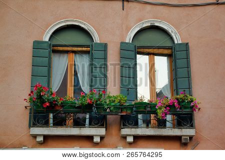 View Of House Windows In The Old Town Venice Italy