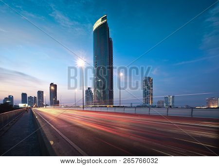 View Of Urban City Skyline, Cityscape In Downtown Of Bangkok, Thailand
