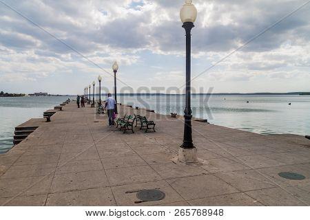 Cienfuegos, Cuba - February 10, 2016: Muelle Real Pier In Cienfuegos Cuba