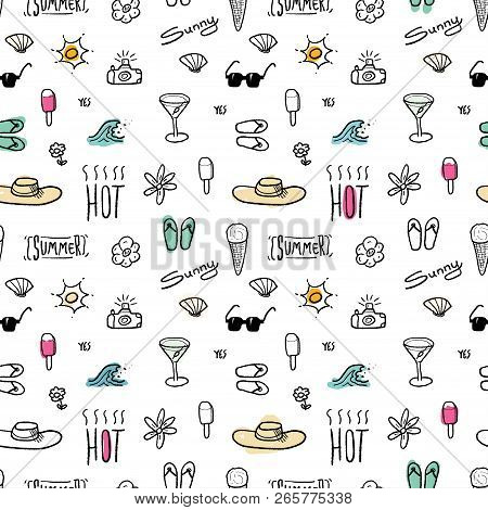 Seamless Pattern With Summer Vacation And Beach Themes - Textile Or Bedsheet Quirky Design Vector.