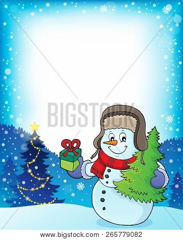 Christmas Snowman Subject Frame 1 - Eps10 Vector Illustration.