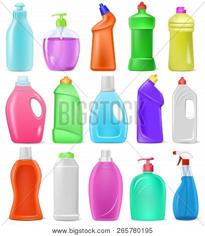 Detergent bottle vector cartoon plastic blank container with detergency liquid and mockup household cleaner product for laundry illustration set of cleanup deterge package isolated on white background poster