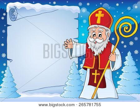 Saint Nicholas Topic Parchment 5 - Eps10 Vector Illustration.