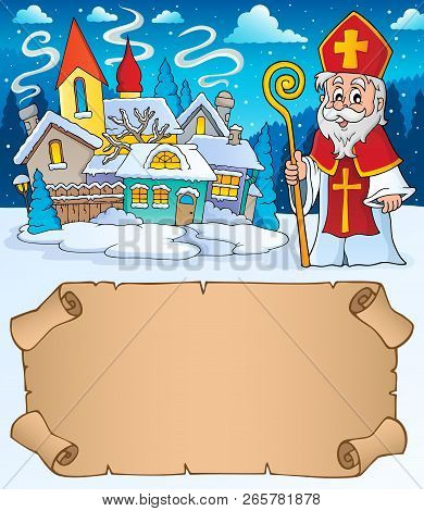 Small Parchment And Saint Nicholas 1 - Eps10 Vector Illustration.