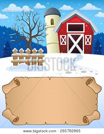 Small Parchment And Winter Farm - Eps10 Vector Illustration.