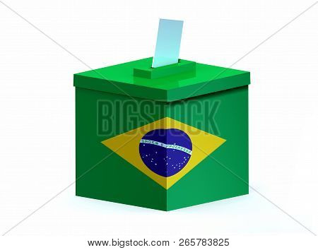 Brasilian Election Ballot Box With Envelope Paper, 3d Illustration